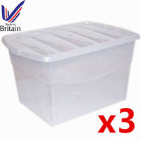 3 x 100L 100 Litre Extra Large Plastic Storage Clear Box Stackable Container Lid