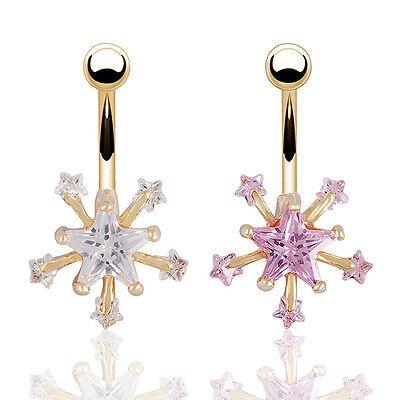 Gold Crystal Rhinestone Belly Button Ring Dangle Navel Body Piercings Fashion