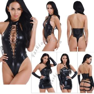 70bda17778 Image is loading Sexy-Women-Leather-Bodysuit-Catsuit-Jumpsuit-Romper-Leotard -
