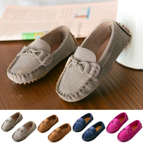Kids Boys Girls Baby Children Top Casual Boat Shoes Slip On Leather Flat Loafers