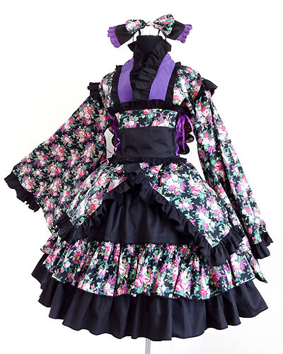 Elegant Gothic Sweet Wa Lolita Ruffled Dress K6 with with with Built-in Petticoat c28a46