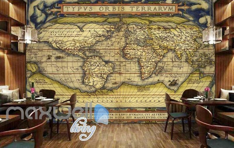 Old Map Latin World Design Art Wall Murals Wallpaper Decals Prints Decor