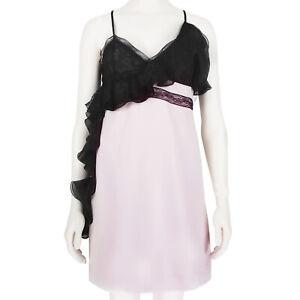 Giambattista-Valli-Pastel-Pink-Black-Lace-Trimmed-Babydoll-Dress-IT40-UK8