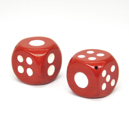 D6 Dice Pair Red Jasper Gemstone Unique 6 sided Hand Carved Stone w Pouch Gift