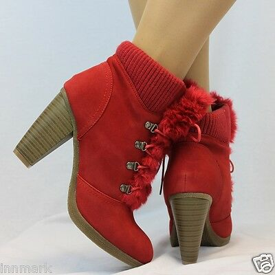 973 Women's Comfort Ankle Shoes Fur Tongue Block Heel Lace Up Rubber Cuff Boots