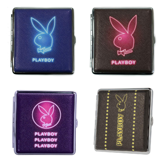Hard Case Playboy Play Boy Cigarette Holder Push Tobacco Case Tin Neon 20 cig