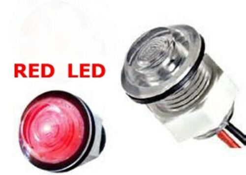 """RED LED w// Clear Lens LIVEWELL AND BULKHEAD LED LIGHT 1/"""" Diameter"""