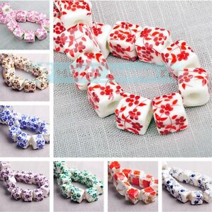 New-Charms-10pcs-10mm-Flowers-Pattern-Ceramic-Porcelain-Loose-Spacer-Beads