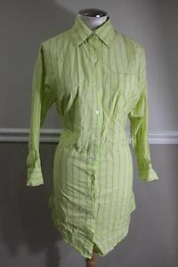 ELIZABETH-AND-JAMES-Women-039-s-Green-Pinstriped-Button-Up-Shirt-Dress-Size-XS-DR90
