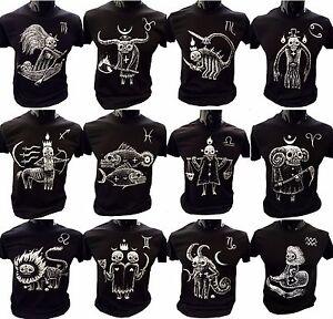 Ambito-HORROR-T-shirt-segno-zodiacale-Eccentrico-Regalo-Gotico-inquietante-Burton-OROSCOPO-presenti