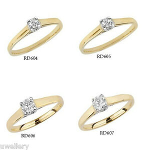 9-carat-Yellow-Gold-Diamond-Crossover-Solitaire-Wedding-Ring-Plain-Shoulder-NEW