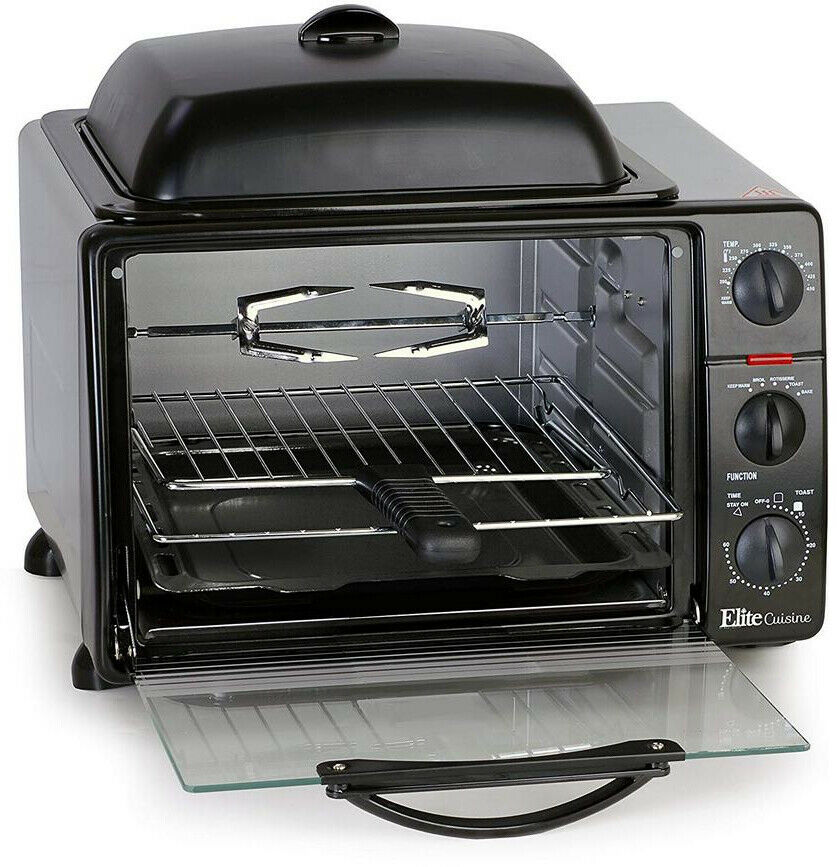 Four Grille-pain Noir 23 Litres avec rougeissoire et Grill Crêpière Haut et Couvercle