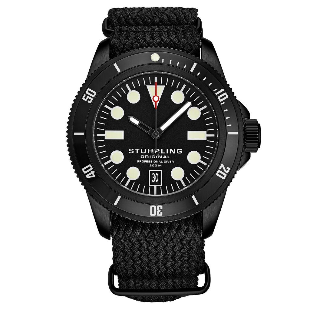 Stuhrling Unisex 20 ATM Water Resistant Divers Watch Nylon Strap Highly Luminous | Ebay