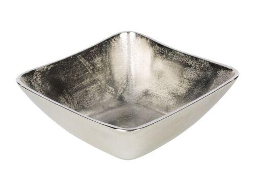 Dekoration Schale 23 cmx 23 cm x9 cm Aluminium Silber Obstschale massivum