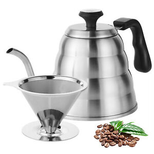Stainless-Steel-Pour-Over-Kettle-With-Thermometer-and-Coffee-Dripper-Filter-Set