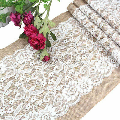 Vintage Jute Hessian Burlap White Lace Table Runner Wedding Party Decor 30x108CM