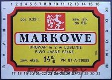 Poland Brewery Lublin Markowe Beer Label Bieretikett Etiqueta Cerveza lu24.1