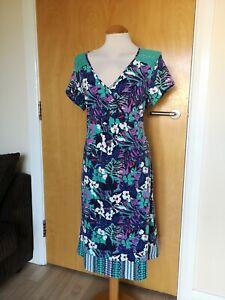 Ladies-Dress-Size-12-PER-UNA-Purple-Green-Stretch-Smart-Party-Evening-Lace-Trim