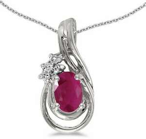 10k White Gold Oval Ruby & Diamond Teardrop Pendant (Chain NOT included)