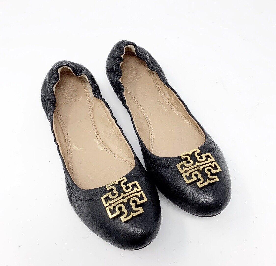 Tory Burch sautope 8 nuovo Melinda Btuttiet Flat nero Leather oro T-Logo