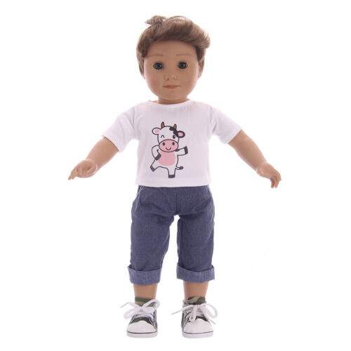 jeans suit For 18-inch American Girl Doll Clothes Handmade Male doll T-shirt