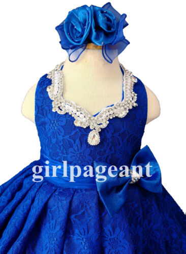 royal Infant//toddler//baby  Lace halter Pageant  Dress 1211