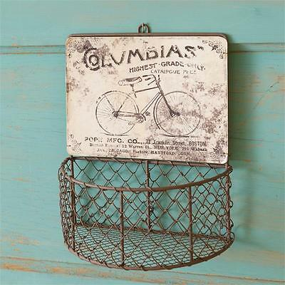 NEW COLUMBIA RUSTY WIRE WALL BASKET Primitive Country Metal Fruit Vegetable Bin