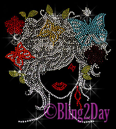 Lady with Butterfly Flower Hair Rhinestone Iron on Transfer Hot Fix Bling Girl