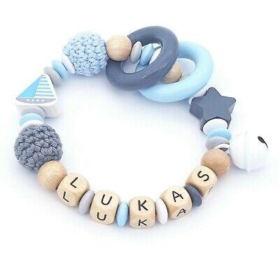 Greifling Beißring mit Namen ★ Junge Mädchen ★ Babygeschenk Blau Grau Stern Holz