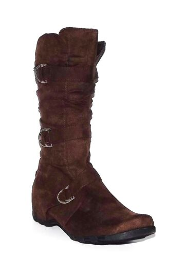 Womens Brown Slouchy Fuax Suede Flat Boot Cowboy Western Riding Geena Size 6-11