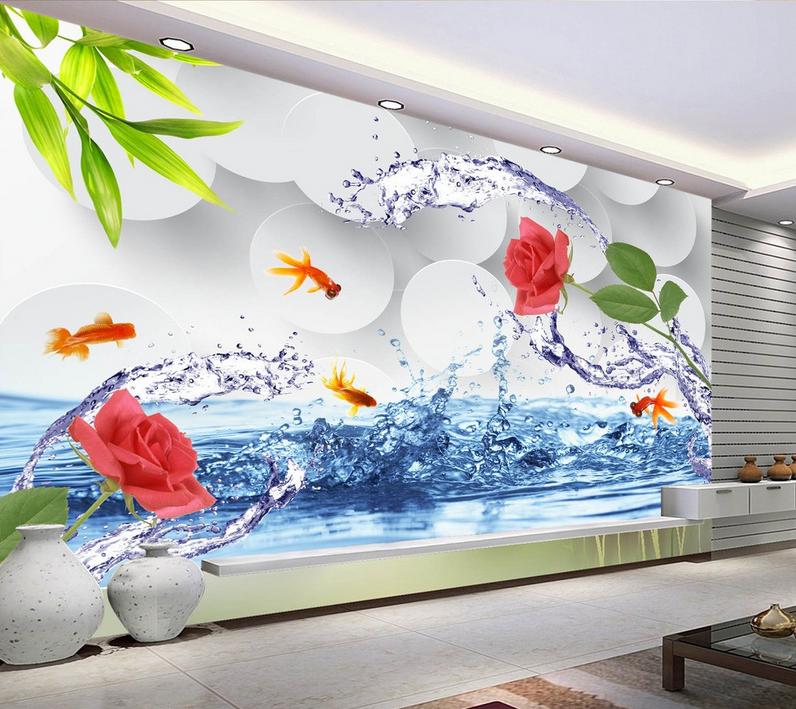 3D Wasser Rose Goldfisch 87 Tapete Wandgemälde Tapete Tapeten Bild Familie DE