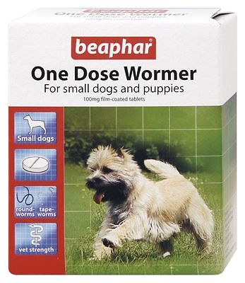 Beaphar One Dose Wormer Tablet Worming Roundworms & Tapeworms (3 Tablet Pack) Knappe Verschijning