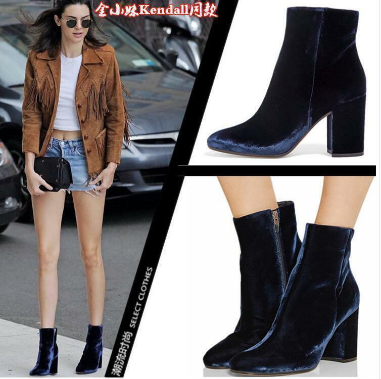 Chic Women's Velvet High Chunky Heel Side Zipper Ankle Boots Square Square Boots Toe Shoes ae3f75