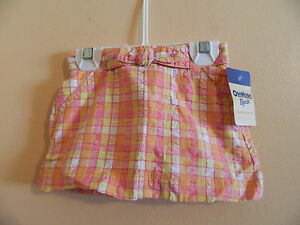 Clothing, Shoes & Accessories Nwt Oshkosh B'gosh Girl Pink & Orange Checkered Skort W/3 Pockets; Size 12m