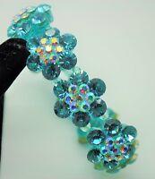 Fashion Jewelry Aquamarine Color Rhinestone Plastic Stretch Bracelet