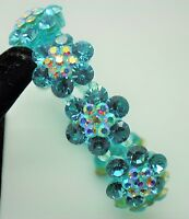 Fashion Jewelry Aquamarine Color Rhinestone Plastic Stretch Bracelet