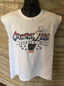 Country-USA-Oshkosh-WI-1999-Sleeveless-Muscle-Shirt-Music-Festival-Size-M-L