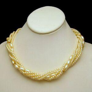 Vintage-Necklace-Faux-Pearls-Mid-Century-5-Multi-Strands-Torsade-Style-Bridal