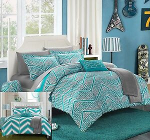 Twin Xl 8 Pc Girls Complete Bedding Set In Bag Teal