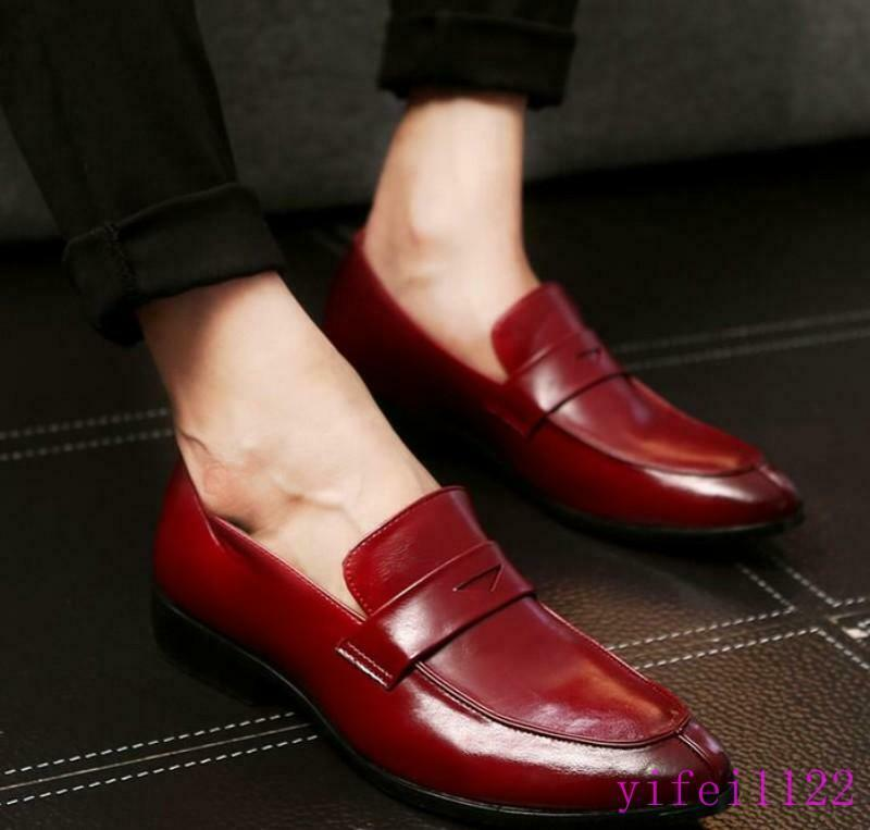 Mens Slip On Loafers casual Flats Leather Dress Formal shoes Oxfords PLus SIze