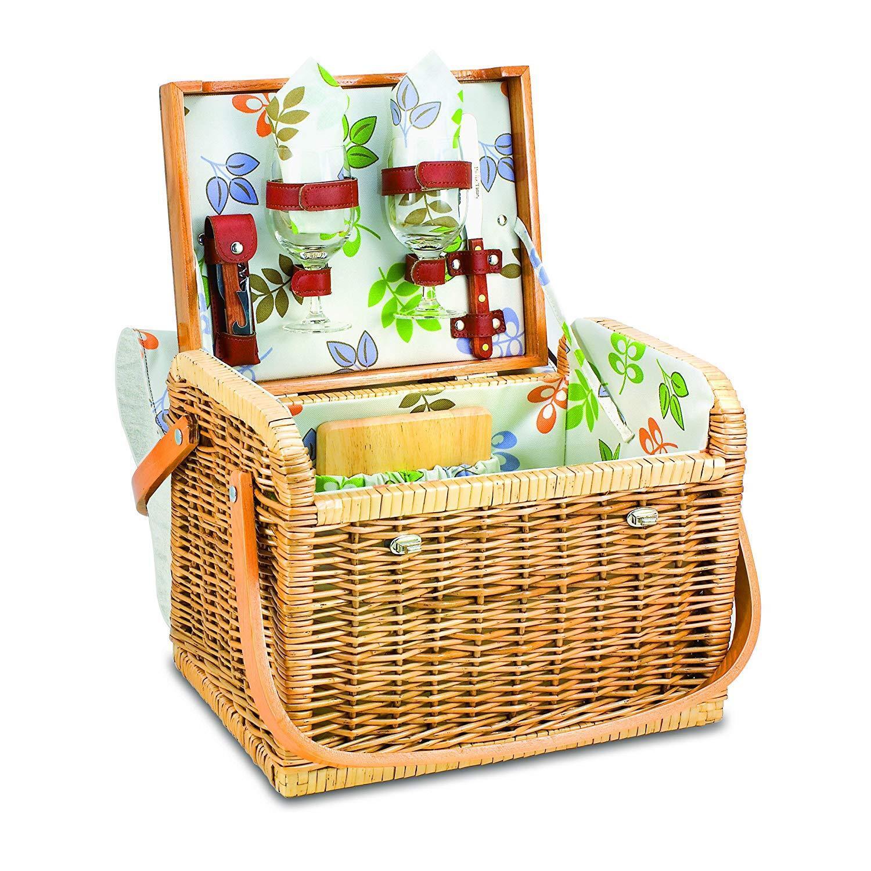 Picnic Time Kabrio cesta de picnic Vino y Queso de servicio para dos, Botanica Nuevo
