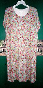 J-Jill-2X-Dress-Layered-Rayon-Jersey-Stretch-Knit-Multi-Color-Florals-109-NWT