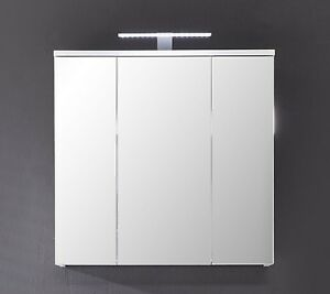 spiegelschrank badezimmer spiegel 3 t rig 3d badspiegel 70 cm weiss glanz xara ebay. Black Bedroom Furniture Sets. Home Design Ideas
