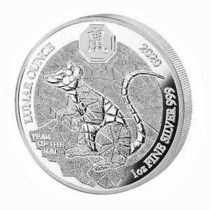 Ruanda 50 Franchi 1 OZ Argento Lunar Anno del Topo/Mouse 2020 PP