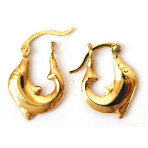 """1//2/"""" Length 5//8"""" E697 Width 14K Solid Yellow Gold 3D Happy Dolphin Earring"""