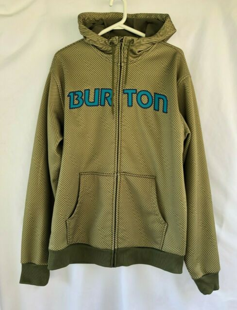 Burton Snowboards Hoodie Men's Sweater Size Medium M Full Zip Spell Out Green