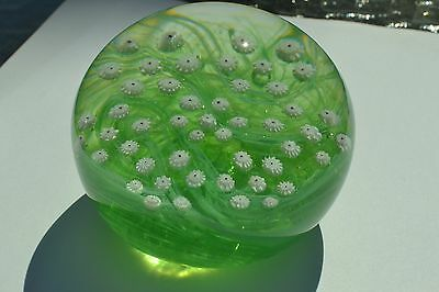 7 Sets of 7 Millefiori on Wavy Green Ground Paperweight, Gentile Glass 1980 M125