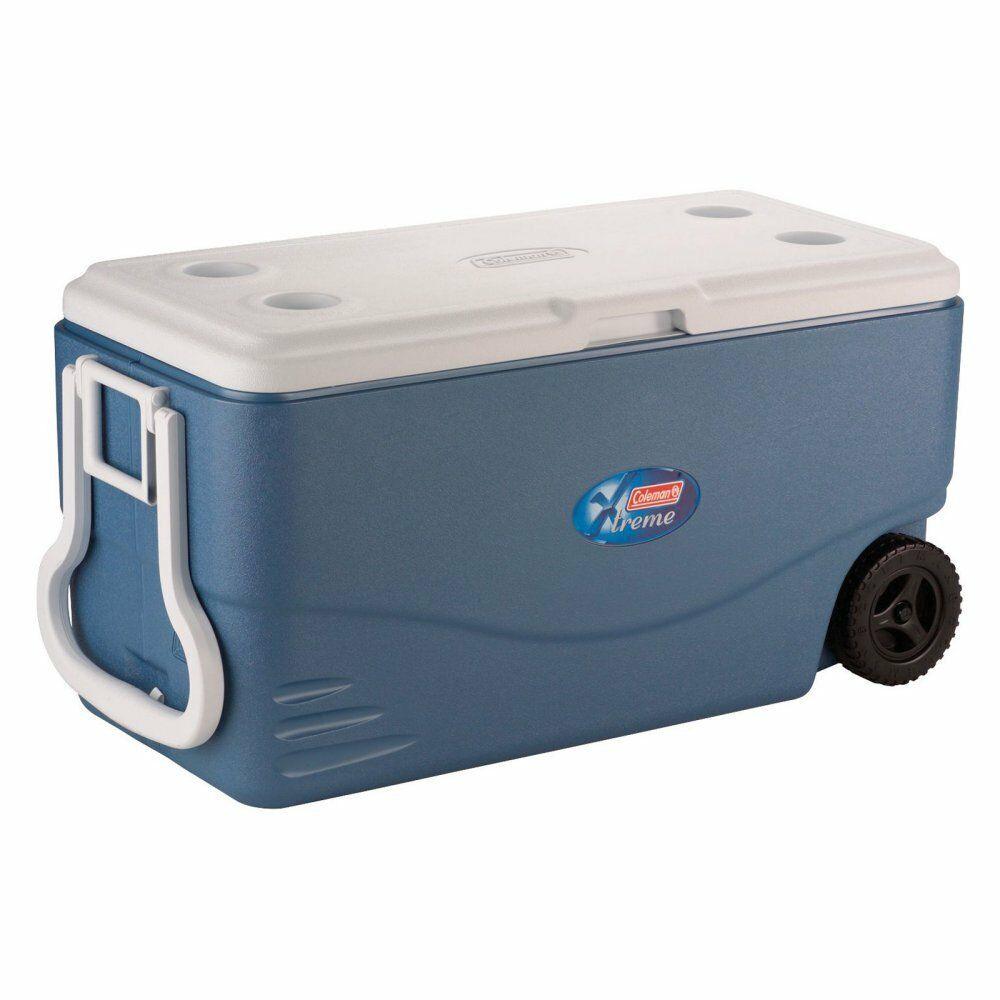Coleman 100 qt. Xtreme Wheeled Cooler with Tow Handle, bluee