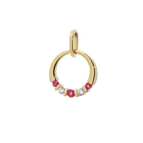 Verdadera rubin /& circonita Ø 15mm señora cadenas colgante 333 8 quilates dorado 9197