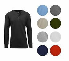 Men's Long Sleeve 3 Button Henley Waffle Knit Thermal -Undershirt- Regular Fit
